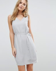 Vila V Neck Sleeveless Shift Dress High Rise Cream