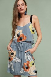 Anthropologie Pippa Beaded Floral Dress Sky