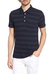 Billy Reid Stripe Cotton And Cashmere Polo Shirt Navy