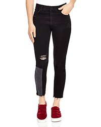 Sandro Dorris Distressed Patchwork Jeans Black
