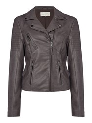 Maison De Nimes Rock Biker Faux Leather Jacket Charcoal