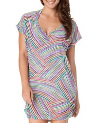 Anne Cole Rainbow Arches V Neck Coverup Multi Colored