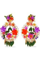 Mercedes Salazar Fiesta Gold Plated Resin Clip Earrings One Size