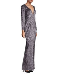 Milly Suzana Sequin Column Gown Gunmetal
