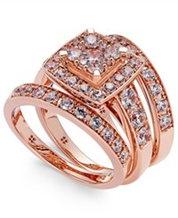 Macy's Diamond Engagement Ring Bridal Set 2 Ct. T.W. In 14K White Gold Rose Gold