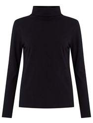 John Lewis Roll Neck Jersey Top Black