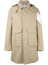 Moncler Gamme Bleu Single Breasted Coat Nude Neutrals