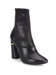 3.1 Phillip Lim Kyoto Stretch Leather Block Heel Booties Black