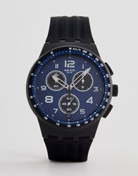 Swatch Susb402 Nitespeed Chronograph Silicone Watch In Black
