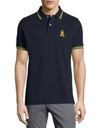 Psycho Bunny Neon Stripe Trim Polo Shirt Navy