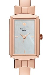 Women's Kate Spade New York 'Bowtie' Bangle Watch 17Mm X 27Mm Rose Gold Mother Of Pearl
