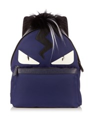 Fendi Bag Bugs Nylon And Fur Backpack Navy Multi