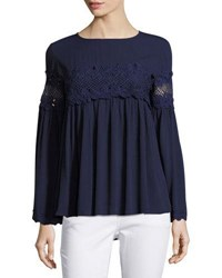 Lumie Lace Inset Bell Sleeve Top Navy
