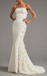 Elizabeth Kennedy Strapless Gown With Side Panel Of Floral Applique White