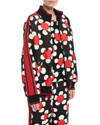 Marc Jacobs Daisy Zip Front Track Jacket Red Pattern