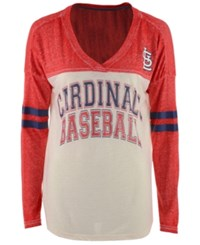 G3 Sports Women's St. Louis Cardinals Field Position Long Sleeve T Shirt White Red Heather
