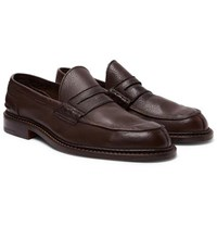 Tricker's Adam Pebble Grain Leather Penny Loafers Brown