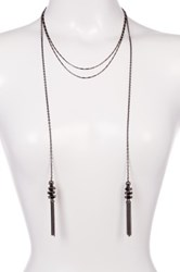 Stephan And Co Double Tassel Layering Necklace Metallic