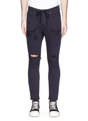 Attachment Drawstring Ripped Skinny Denim Pants Black