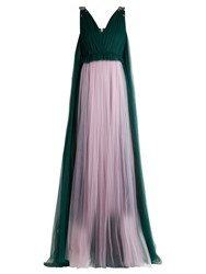 Delpozo Sequin Embellished V Neck Tulle Gown Green Multi