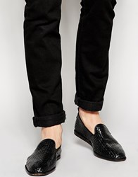 Hudson London Ipanema Woven Loafers Black