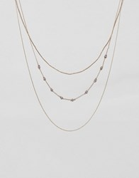 Ny Lon Nylon Multi Layered Necklace Gold