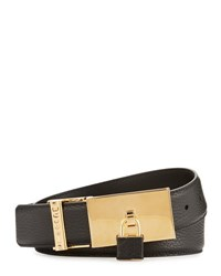 Buscemi 100Mm Padlock Buckle Leather Belt Black