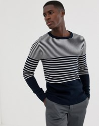 Selected Homme Knitted Stripe Jumper Dark Sapphire Navy