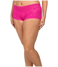 Hanky Panky Plus Size Signature Lace Solid New Boyshort Tulip Pink Women's Underwear