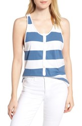 Stateside Rugby Stripe Tank White Blue