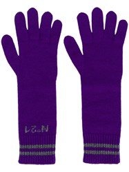 N 21 No21 Long Logo Gloves Pink And Purple