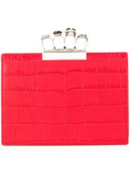 Alexander Mcqueen Four Ring Clutch Bag Red