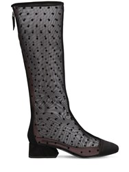 Les Petits Joueurs 30Mm Narciso Satin And Mesh Boots Black