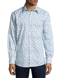 English Laundry Paisley Print Sport Shirt Blue