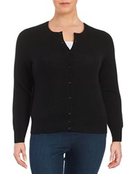 Lord And Taylor Plus Cashmere Button Front Cardigan Black