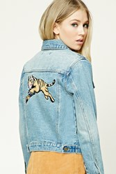 Forever 21 Tiger Graphic Denim Jacket Denim Brown
