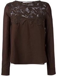 See By Chloe Lace Bib Top Green