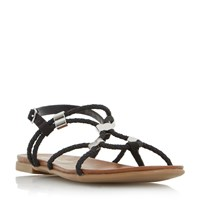 Head Over Heels Layley Elastic Plait Strap Sandals Black