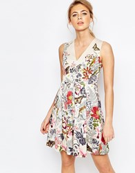 Oasis Botanical Placement Skater Dress Multi Ivory