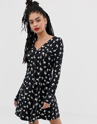 New Look Swing Dress With Buttons In Floral Print Black