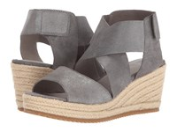 Eileen Fisher Willow 3 Pewter Metallic Suede Women's Wedge Shoes