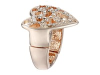 Guess Pave Heart Swirl Stretch Ring Rose Gold Crystal Ring