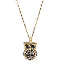 Bloomingdale's White And Brown Diamond Owl Pendant Necklace In 14K Yellow Gold 16 100 Exclusive White Brown