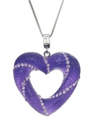 Sis By Simone I Smith Platinum Over Sterling Silver Necklace Purple Crystal Cloud Open Heart Pendant