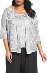 Alex Evenings Plus Size Women's Embroidered Lace Twinset