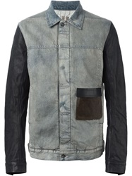 Rick Owens Drkshdw Denim And Leather Jacket Blue
