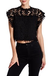 Romeo And Juliet Couture Short Butterfly Sleeve Crochet Lace Woven Shirt Black