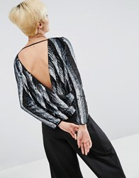 Asos Wrap Back Top In Sequin Stripe Black
