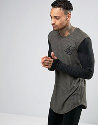 Sik Silk Siksilk Ribbed Long Sleeve T Shirt With Contrast Sleeves Khaki Green