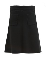 Red Valentino Redvalentino Scalloped Edge Crepe Skirt Black